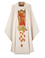 "Choice of fabrics: Cantate (Wool), or Patrick (Polyester), with inside stole.  Choice of lengths: 53"" or 49"",  Neck height: 16"". Low stand-up collar, embroidered. Colorful embroidery of Saint Michael the Archangel on front. Usually ships in 32 working days.  These items are hand embroidered and imported from Europe. Please supply your Institution's Federal ID # as to avoid an import tax."