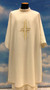 """Dalmatic with plain neckline in Primavera fabric (100% polyester) with embroidered cross in front only. Inside stole included.  Dalmatic: width 60"""" x height 47"""". Available in all liturgical colors."""