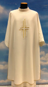 "Dalmatic with plain neckline in Primavera fabric (100% polyester) with embroidered cross in front only. Inside stole included.  Dalmatic: width 60"" x height 47"". Available in all liturgical colors."