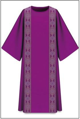 """In Dupion, fabric made of 70% polyester and 30% viscose, with galloon Length: 53"""", Width: 59"""", Neck height: 9"""" Plain neck  Available in purple These items are imported from Europe. Please supply your Institution's Federal ID # as to avoid an import tax.  Please allow 3-4 weeks for delivery if item is not in stock."""