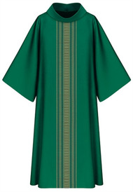 "Dalmatic, 3111 in Green Brugia, 100% Wool-Length: 53"", Width: 59"", Neck height: 9"". Stiff roll-collar 4"". Color choices: beige, red, green, purple. These items are imported from Europe. Please supply your Institution's Federal ID # as to avoid an import tax.  Please allow 3-4 weeks for delivery if item is not in stock."