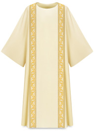 "Dalmatic with galloon is made in Dupion, 30% viscose and 70% polyester.  Length: 53"", Width: 59"". Plain neck-collar. Available in Beige.  These items are imported from Europe. Please supply your Institution's Federal ID # as to avoid an import tax.  Please allow 3-4 weeks for delivery if item is not in stock."