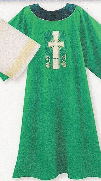 """Dalmatic includes a lined and interlined crossover style deacon under stole. Dalmatic is 51"""" wide x 52"""" long. Ample size measures 60"""" wide x 52"""" long. Available in all liturgical colors. Design can be added on back of Dalmatic for $150.00."""