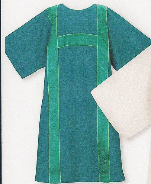 """Dalmatic includes a lined and interlined crossover style deacon understole. Dalmatic is 51"""" wide x 52"""" long. Ample size measures 60"""" wide x 52"""" long. Available in all liturgical colors."""