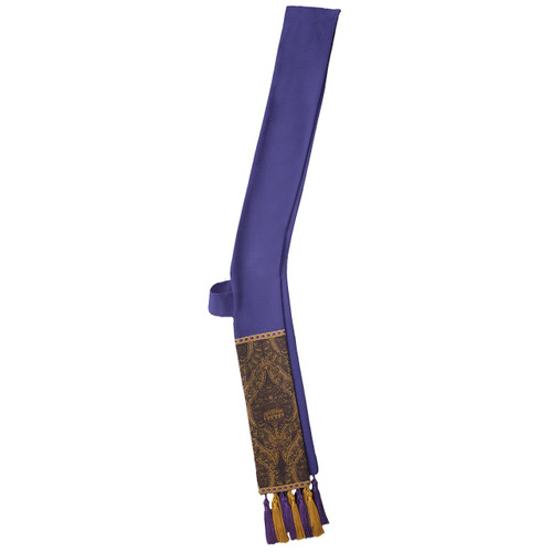 "Deacon Stole  (6866NA)-Overlay or Deacon Stole with fringe. Features gold cross applique at neck seam on overlay and shoulder seam on deacon stole. Available in all Liturgical Colors. Stole Measures 5"" wide by 26"" from shoulder to hip and 26"" from hip to bottom. Overlay Measures: 5"" wide by 56"" long. Please call 1-800-523-7604 for any additional information on tassles, fringe, and detail."