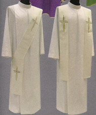 Deacon Stole or Overlay Stole in Micro Monastico fabric (100% polyester). Cross embroidery in front. Color choices: white, red, green, rose, and purple. These items are imported from Europe. Please supply your Institution's Federal ID # as to avoid an import tax.  Please allow 3-4 weeks for delivery if item is not in stock