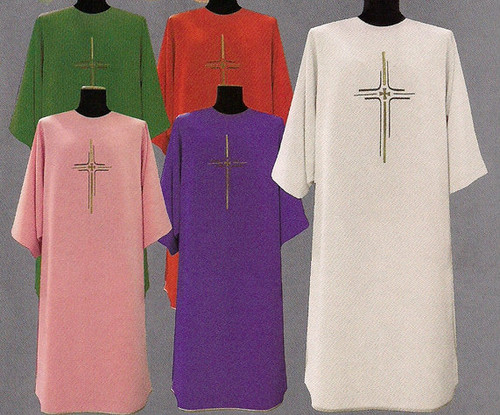 """Dalmatic 334 ~ in Micro Monastico fabric (100% polyester ). Length: 49"""", Width: 61"""". With inside stole. Plain collar. Embroidered on front and back with inside stole. Color choices: Red, White, Green, Rose, and Purple.These items are imported from Europe. Please supply your Intitution's Federal ID # as to avoid an import tax. Please allow 3-4 weeks for delivery if item is not in stock."""