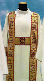 Dalmatic 486-Dalmatic 486 ~ in Primavera fabric (100% polyester) with banding in front and back with inside stole. Color choices: red, white, green, rose, and purple.