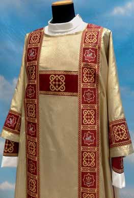 """Dalmatic 485 ~ in Lame oro fabric (40% polyester, 35% wool, 25% gold thread) with banding in front and back with inside stole. Color choices: red, white, green, rose, and purple. Measurements: 49"""" long, 61"""" wide.  These items are imported from Europe. Please supply your Intitution's Federal ID # as to avoid an import tax.  Please allow 3-4 weeks for delivery if item is not in stock"""