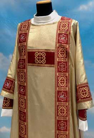 "Dalmatic 485 ~ in Lame oro fabric (40% polyester, 35% wool, 25% gold thread) with banding in front and back with inside stole. Color choices: red, white, green, rose, and purple. Measurements: 49"" long, 61"" wide.  These items are imported from Europe. Please supply your Intitution's Federal ID # as to avoid an import tax.  Please allow 3-4 weeks for delivery if item is not in stock"