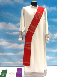 Deacon Stole 860 ~ in Linea fabric (95% pure wool, 5% gold thread) with embroidered crosses. Color choices: white, red, green, purple, and rose.. These items are imported from Europe. Please supply your Institution's Federal ID # as to avoid an import tax. Please allow 3-4 weeks for delivery if item is not in stock