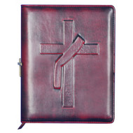 """Beautiful antique cherry, genuine leather personal journal with richly embossed Deacon Stole Cross symbol on front cover measures 8"""" X 6 1/2"""". An elastic band closes the journal and secures around a decorative 1 1/2"""" bronze Latin Cross on the spine. Inside cover features a plastic sleeve to hold a 3 1/2"""" X 2 1/2"""" picture or prayer card as well as a pen, USB holder and an area for a personalized 2 1/2"""" X 2"""" engraving plate for your favorite prayer or inspirational quote. Journal contains a replaceable 200 page (100 sheet) pad of antique paper with lined gold edge. A coordinating 12"""" bookmark is secured to the journal's spine. Back inside cover contains a sleeve to store pages. If engraving please allow 7-10 for engraving."""