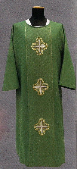 Dalmatic is made in Francesco fabric (63% viscose, 35% wool, 2% gold thread) with gold thread woven into the fabric, with three embroidered crosses and inside stole.
