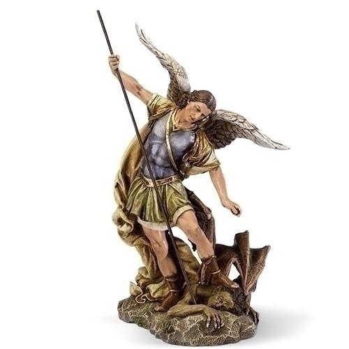"Saint Michael 12"" Statue, Patron Saint of Policeman, Fireman & Armed Forces.  Dimensions: 12""H x 7.25""W x 7""D. Resin/Stone Mix"