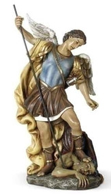 "Saint Michael 15.5 Inch Statue.  Patron Saint of Policeman,  Armed Forces. Resin/Stone Mix. 15.5""H x 8.75""W x 6.5""D"