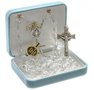 """Rosary with 8mm aurora multi faceted tin cut crystal beads with a sterling silver miraculous center and 2"""" sterling crucifix. Rhodium plated brass findings. Comes with a deluxe velour gift box."""