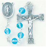 Aqua Multi Faceted Rosary