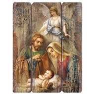 "17"" distressed wall plaque ~ ""plank style"" of the Holy Family with an Angel. Dimensions: 17""H  x13""W x 0.75""D. Materials: Medium density wall board"