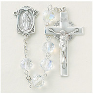 "Sterling Silver rosary made with 8mm crystal aurora multi-faceted crystal beads. Solid brass findings, pins and chain with genuine rhodium plating to prevent tarnishing. Exclusive designed sterling silver Miraculous Medal centerpiece and sterling silver 1-13/16""crucifix. Comes with a Deluxe Velour Gift Box. Made in the USA."