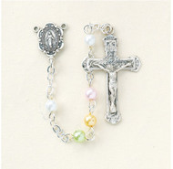 Rosary, 4mm Multi Color Faux Pearl Beads 1246