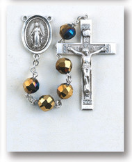 Metallic Gold Tin Cut Rosary 8133