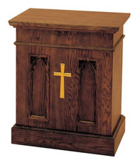 "Offertory Table Dimensions: 30""H x  25""W x 19""D. Brass cross and castors are available at extra charge"