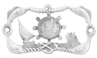 "Genuine Pewter Boat Plaque with Screws. 3-3/4"" x 2"""