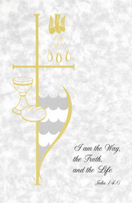 "Image of a bulletin with gray textured paper; imagery of a cross, wine and unleavened bread, a dove, ocean waves, three flames; and the bible verse John 14:6, ""I am the Way, the Truth, and the Life."""