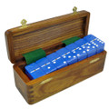 Domino Double Six Blue in Wood Box