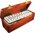 Domino Double Six Two Tone Black and White in Dovetail Jointed Sheesham Wood Box Jumbo Tournament Size with Spinners