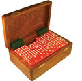 Domino Double Nine Red in Dovetail Jointed Sheesham Wood Box Jumbo Tournament Size with Spinners