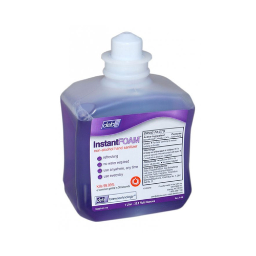 Deb InstantFoam, Foam Hand Sanitizer, Non-Alcohol, Purple, 1 Liter Cartridge, 56827 (6 refills/case)
