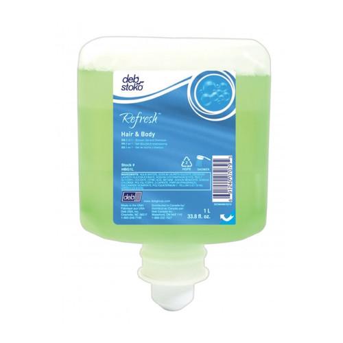Deb Refresh Hair & Body Wash, 1 Liter (6 refills/case)