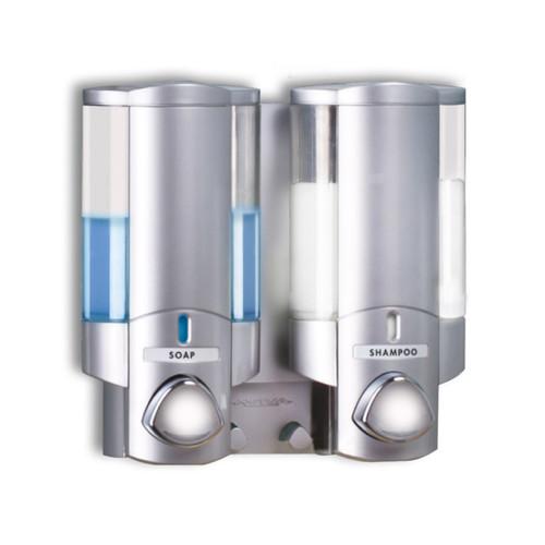 AVIVA Double Soap Dispenser, 2 Chambers, Satin Silver