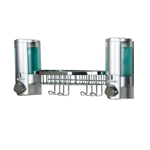 AVIVA 2 Chamber Gel Soap Dispenser + Shower Basket, Satin Silver (36234-14BSK)