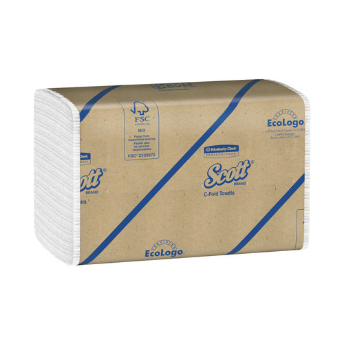 Kimberly-Clark Scott C-Fold Towels, White, 01510 (200 towels/pack) (12 packs/case)