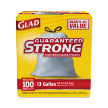Glad Tall Kitchen Drawstring Bags, 13gal, .95mil, White, (100 units/box) (4 boxes/case) (CLO78526CT)