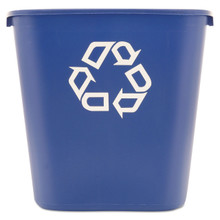 Rubbermaid Commercial Medium Deskside Recycling Container, Rectangular, Plastic, 28 quart, Blue, 295673BE