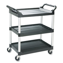 "Three-shelf economy plastic cart. For audio/video, filing, food service. 1/4"" lip on three sides of shelves and one flat side for easy loading."