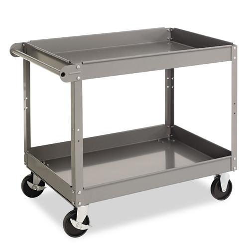 """Tennsco Two-Shelf Metal Cart. 3-3/8"""" tray lip reverses to a flat top."""