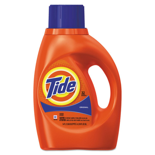 Liquid laundry detergent has a high-powered, grease-cutting formula.
