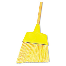 Angled broom with with flagged-tip plastic bristles.