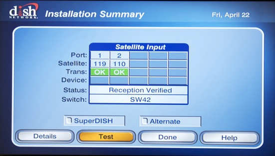 DISH Network Check Switch Procedure