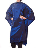 Lana - saloncapes.com's High Performance, Iridescent Polyblend Hair Cutting Cape in Royal Blue