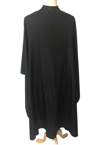 Our extra large and extra long barber capes in soft silky black fabric