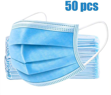 """7"""" disposable surgical mask, 3 ply, earloop style, pack of 50"""