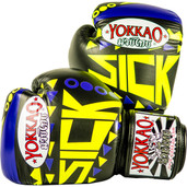 Yokkao Sick Muay Thai Leather Boxing Gloves Violet Yellow