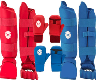 Karate Sparring Set Including Shin Instep And Karate Mitts With Thumb