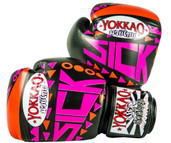 Yokkao Sick Muay Thai Leather Boxing Gloves Orange Pink