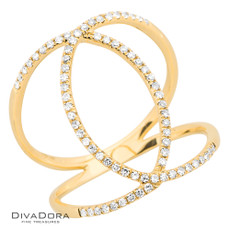 14 K DIAMOND RIBBON RING - RG18586
